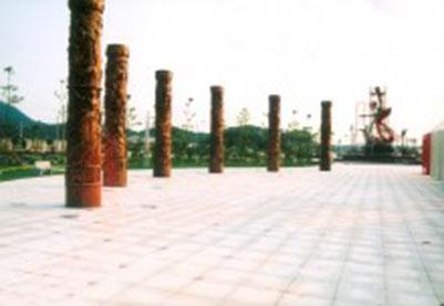 《文化之柱》玻璃钢镀铜雕塑